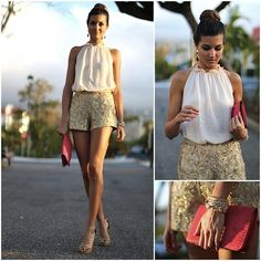 Zara Blouse, Suchn Shorts, Malababa Clutch, Suiteblanco Shoes