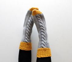 Knitted bed socks, 100% merino wool mustard and grey