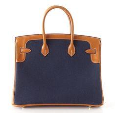 ab09116362bd HERMES BIRKIN 35 Bag Blue FLAG Toile Barenia Leather Permabrass Limited  Ediiton 2 Hermes Bags