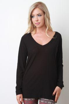 V-Neck Pocket Long Sleeves Casual Top