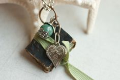 Copper Book Charm with Metal Heart & Green Bead by BrownsHardwear, $25.00