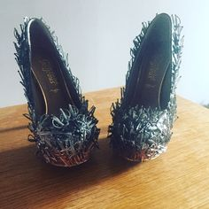 Game of thrones inspired iron throne heels.   https://www.etsy.com/uk/listing/247189353/custom-made-iron-throne-inspired-shoes