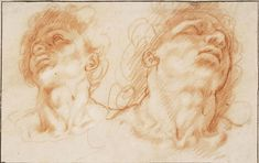 Hendrick Goltzius – The heads of the sons of Laocoön;  Red chalk, traces of white chalk, 16x25.2 cm