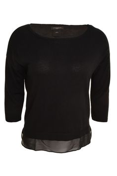 Ann Taylor Tunic Sweater 3/4 Sleeve Sheer Hem Boat Neck Top XS M L Lightweight