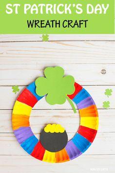 St Patrick's Day Wreath Craft For Kids – Paper Plate Wreath St Patrick's Day Wreath Craft For Kids – Paper Plate Wreath,St. Patrick's Day for Kids St Patrick's Day Wreath Craft For Kids –. March Crafts, St Patrick's Day Crafts, Daycare Crafts, Classroom Crafts, Toddler Crafts, Holiday Crafts, Kids Crafts, Kids Diy, Hero Crafts