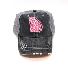 149d8ef2abb Georgia Hat - Distressed Trucker Hat - Floral Fabric - Many Fabric Choices  Cowgirl Style