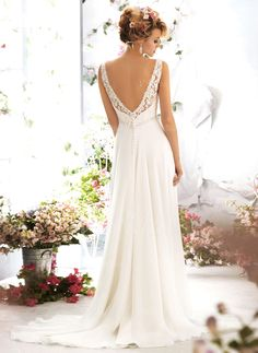 Empire V-neck Sweep Train Lace Beading Chiffon Covered Button Regular Straps Sleeveless Church Beach Hall Garden / Outdoor Reception No Spring Summer Fall Ivory White Wedding Dress