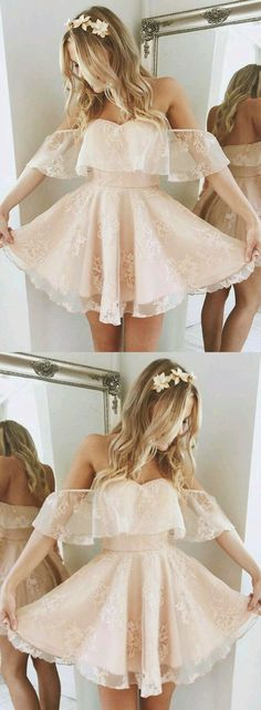 A-Line Off-the-Shoulder Short Pearl Pink Lace Homecoming Dress,Short/Mini Bridal Dress,Sweet 16 Cocktail Dress,Plus Size Prom Dress,Homecoming - Dresses i luv - Lace Homecoming Dresses, Hoco Dresses, Dance Dresses, Pretty Dresses, Bridal Dresses, Beautiful Dresses, Formal Dresses, Short Dresses For Prom, Dress Wedding