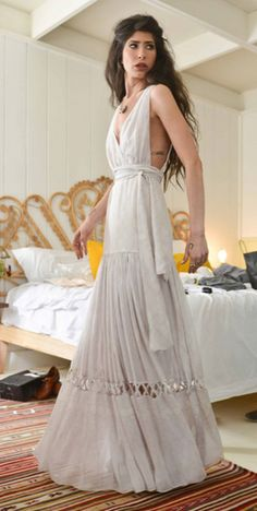 :: wedding dress :: bridal :: off white :: tiered skirt :: sleeveless :: sash :: bohemian :: fashion ::Style with the Jennifer Behr Double Crystal Scallop headwrap
