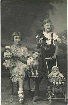 Girls w dog dressed teddy bear dolls and toy stroller fun antique studio photo