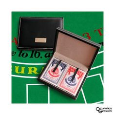This personalized playing cards case makes a neat way to carry decks of cards!