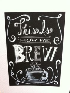 Fun Funky Chalkboard Coffee Kitchen Art Print! Black and White, Espresso Themed, Unique Wall Decor