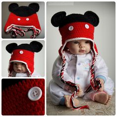 Mickey Mouse Cotton Crochet Baby Hat by ClickStitchCrochet on Etsy, $20.00