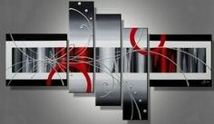 100% Hand Painted Artwork 5 Piece Wall Art Large Oil Painting Modern Art Canvas Art Gallery Wrapped Stretched and Ready to Hang by Paintingworld, http://www.amazon.com/dp/B00B9RBOVW/ref=cm_sw_r_pi_dp_4qcYrb0ZGW1K0