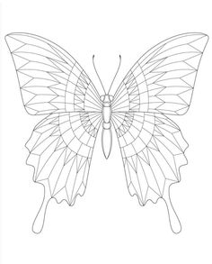 Insect Coloring Pages, Colouring Pages, Adult Coloring Pages, Fabric Butterfly, Butterfly Drawing, Zentangle Patterns, Zentangles, Butterfly Black And White, Butterfly Illustration