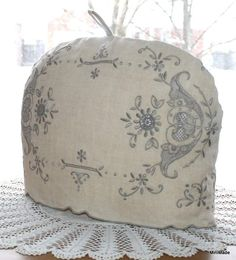 shabby chic machine embroidery designs | UPCYCLED TEA COZY, Beige Vintage Linens, Shabby chic, Embroidered