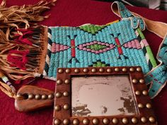 CHEYENNE STYLE BEADED BAG WITH WOODEN MIRROR