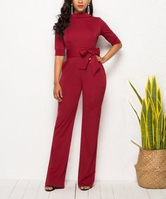 7a9931a02e8 Fée et rit Red Wine Half-Sleeve Jumpsuit - Women | zulily Jumpsuits For  Women