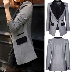 Lapel Color Matching Single Button Long Sleeves Slimming Women's Blazer