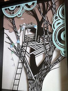 Treehouse Paper Cutting by all things paper, via Flickr
