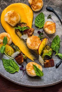 Seared Scallops with Butternut Squash Puree and Maple Bacon Brussels Sprouts