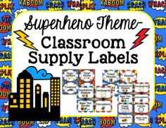 Superhero Theme-Classroom Supply Labels from Mrs. R's Sweet Creation Station on TeachersNotebook.com -  (17 pages)  - Superhero Theme-Classroom Supply Labels