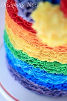 Blissfully Sweet: A Rainbow Rufflicious Birthday Cake Rainbow Birthday Party, Birthday Cake, Birthday Parties, Happy Birthday, Rainbow Food, Rainbow Cakes, Frosting Colors, Ruffle Cake, Ruffles