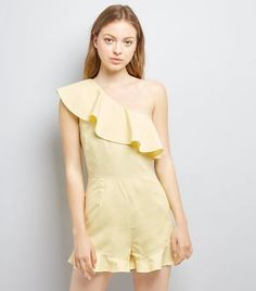 Yellow Frill Trim Off the Shoulder Playsuit