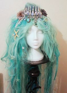 SALE! Long Mermaid Wig Shell Crown in Green and White with Pearl Beads Plaits & Starfish