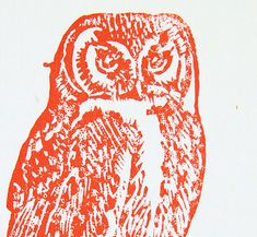 4 x 5.5 inch Country Cottage Preppy Owl Wall Art Linocut on Fabric