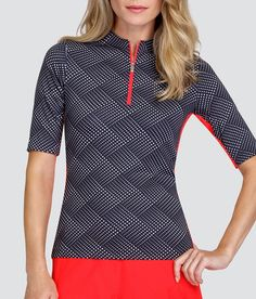 """Check out what Loris Golf Shoppe has for your days on and off the golf course! Tail Ladies & Plus Size Callie 12"""" Sleeve Length Golf Shirt - PALM COAST (Wave Dot)"""
