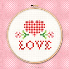 Love heart cross stitch embroidery gingham check flowers sew affection Valentine birthday Mothers Day PDF instant download printable pattern by CrossStitchCounty on Etsy https://www.etsy.com/listing/243633209/love-heart-cross-stitch-embroidery