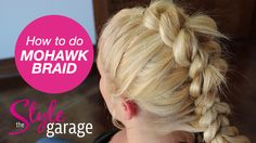 Mohawk pull through braid tutorial Mohawk Braid Styles, Mohawk Ponytail, Hair Styles, Dance Hairstyles, Mohawk Hairstyles, Haircuts, Mowhawk Braid, Girl Mohawk, Girls Updo