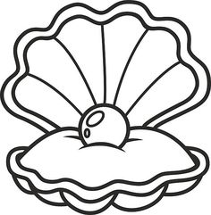 sea green shell with a pearl inside stencil designs clam shells rh pinterest com pearl clip art free pearl shell clipart