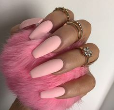 Baby Pink Tapered Square Nails. Pinterest: @PrettyAssRae