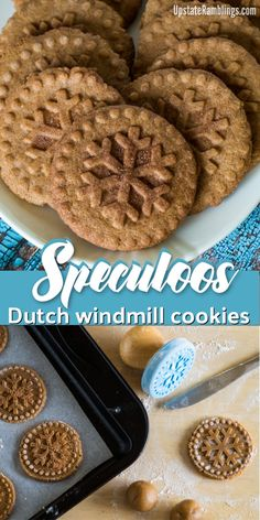 Speculoos – Speculaas – Dutch Windmill Cookies Speculoos – Dutch Windmill Cookies – a traditional stamped cinnamon and spice infused cookie from the Netherlands and Belgium – Speculaas – Make holiday cookies from around the world this Christmas Windmill Cookies Recipe, Stamp Cookies Recipe, Dutch Cookies, Spice Cookies, Yummy Cookies, Healthy Cookies, Dutch Recipes, Baking Recipes, Cookie Recipes