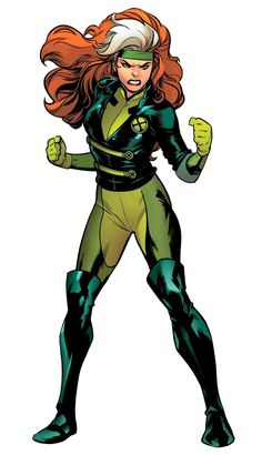 The adopted daughter of Mystique, Rogue was once a member of the Brotherhood of Evil Mutants. Now reformed, Rogue has become a veteran member of the X-Men. Rogue Character, Marvel Comic Character, Comic Book Characters, Marvel Characters, Comic Books Art, Female Characters, Comic Art, Character Art, Character Design