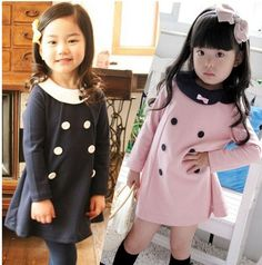 Girl Baby Children Toddler Double Breasted Long Sleeve Vintage Peter Pan Collar Bow Mini Dress Navy Pink Pullover Outerwear on Aliexpre. Tutus For Girls, Little Girl Dresses, Girls Dresses, Bow Dresses, Kids Dress Patterns, Vintage Dress Patterns, Clothing Patterns, School Fashion, Kids Fashion