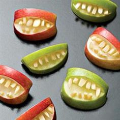 "Halloween Fruit Apple Teeth Treats | ""These are just tooooo cute! I love it! I made these for all my Grandkids and they all had a good laugh! One of them shouted to his Papa that here was a good set of teeth for him! They were so easy to make and so fun to give! Thanks for the great idea!"""