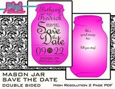 Printable Mason Jar Fireflies Double Sided Save by digiprintables, www.DigiPrintables.Etsy.com OR www.Zazzle.com/DigiFoto*/gifts?cg=196356260930714433