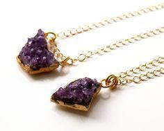 Now 10% down Brazilian Amethyst Druzy Necklace 24k gold by EverywhereUR, $71.00