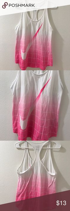 Big swoosh Nike tank Nike   Size: L   white and pink ombré   good condition Nike Tops Tank Tops