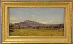 """Aaron Draper Shattuck (1832-1928)  Mt. Monadnock N.H.  oil on board  stamped lower right: A.D.S.  5 1/2"""" x 10""""  Estimate: $2000 - $4000"""
