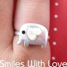 $10 Adjustable Elephant Ring in Silver with Heart Shaped Ears