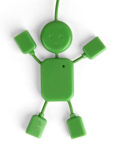 $12.99 USB Hub Man: HubMan has flexible wire arms and legs with a port at the end of each one. His body houses all the electronics and a tiny green power indicator LED in place of a heart. Cute and functional.