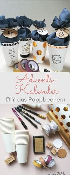 Make DIY advent calendars from paper cups - LeniBel.de- DIY advent calendars made out of paper cups – individually and very easy to imitate. With lots of space to fill. The handicraft instructions are available LeniBel. Advent Calenders, Diy Advent Calendar, Diy Presents, Diy Gifts, Diy Crafts To Do, Crafts For Kids, Decor Crafts, Easy Crafts, Christmas Time