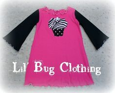Custom Boutique Pink Black Zebra Cupcake Knit by LilBugsClothing, $27.50