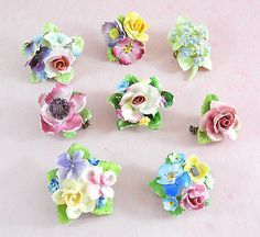 Vintage job lot of 9 bone china flower brooches - Coalbrook/Royal Staffordshire