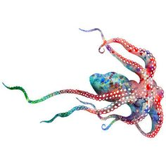 Watercolor Painting Octopus - Giclee Art Print - Colorful Wall Art