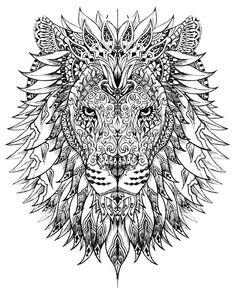 mandala art lion coloring book for adults #beautytatoos